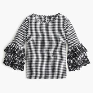 Petite tiered bell-sleeve top in gingham